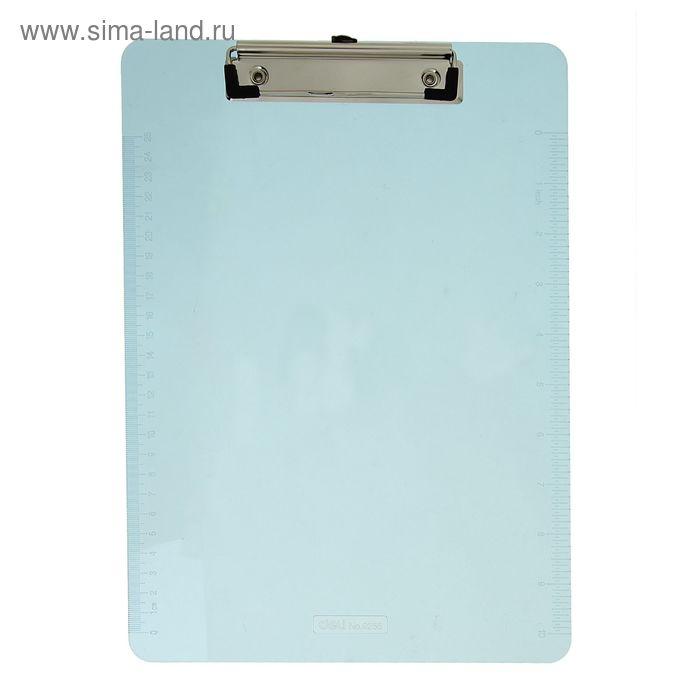 Планшет с прижимом формат А4 прозрачный с линейкой DELI