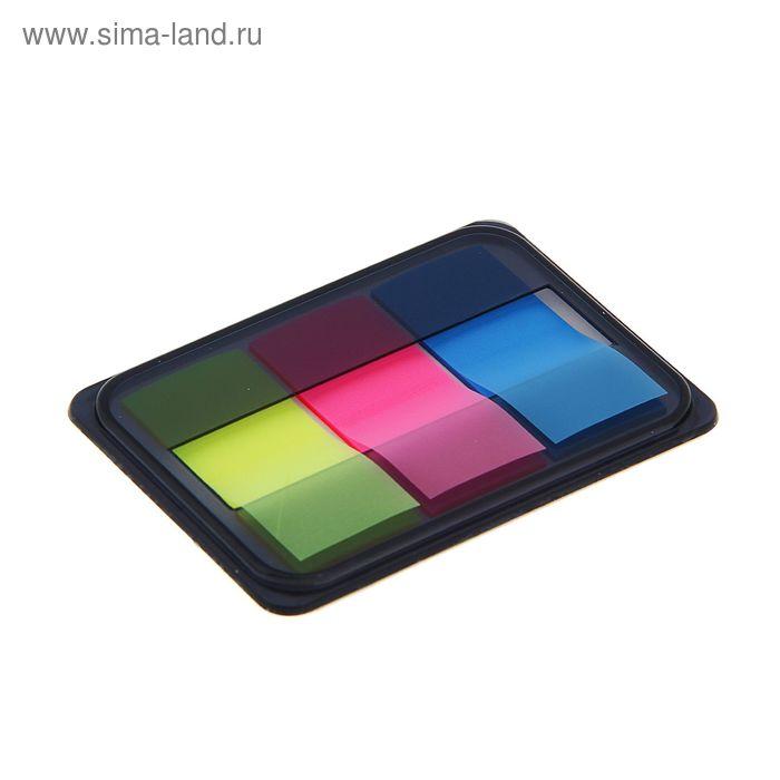 Блок-закладки с липким краем пластик 20л*3шт 45мм*20мм 3цв флюор в диспенсере МИКС DELI