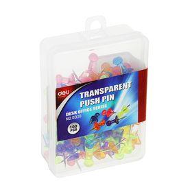 Кнопки силовые цветные прозрачные 100шт в пластиковой коробке E0030 DELI Ош