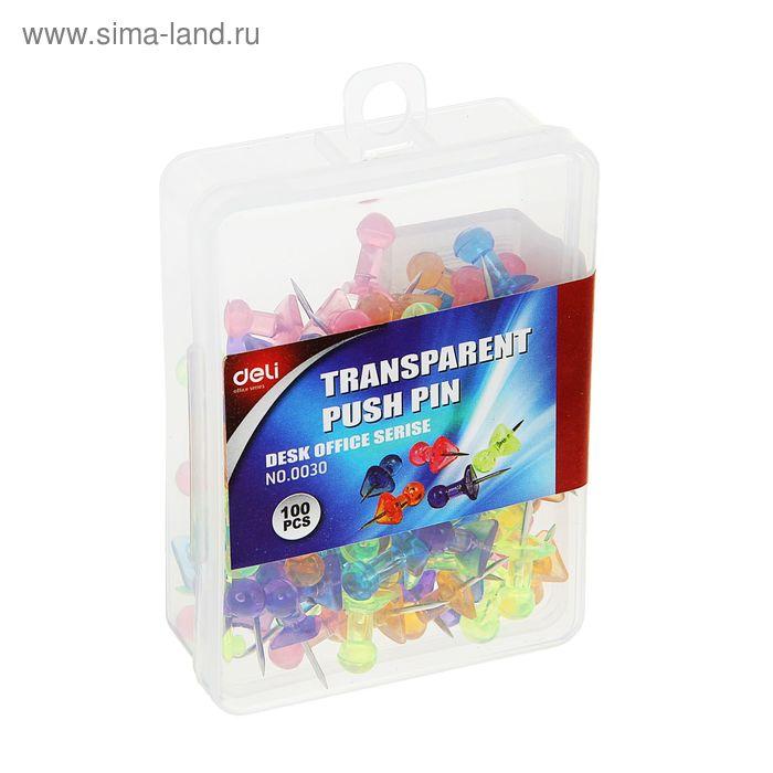 Кнопки силовые цветные прозрачные 100шт в пластиковой коробке E0030 DELI