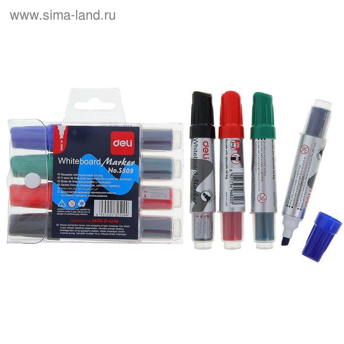 Набор маркеров 4 цвета для магнитно-маркерной доски скошенные 3,5 мм DELI