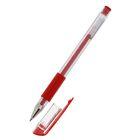 Ручка гелевая 0,5мм красная корпус прозрачный с резиновым держателем DELI