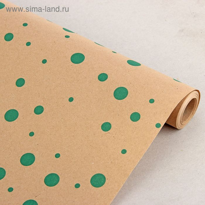 """Бумага упаковочная крафт """"Горошина"""" зеленый, 0.7 x 10 м"""