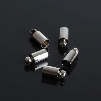 Концевик-шапочка, цвет серебро, 4*9 мм (набор 10шт)