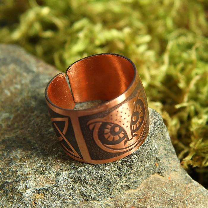 """Перстень """"Сова"""", пластинчатый, медь"""