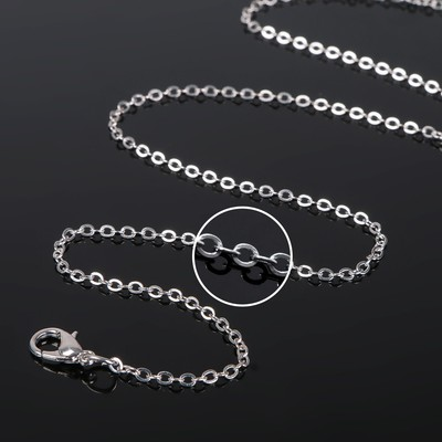 Цепочка с карабином, декоративная, мелкое плетение, набор 5шт, 45 см, цвет серебро