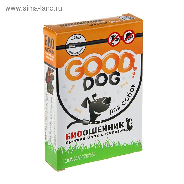 Биоошейник антипаразитарный Good Dog для собак от блох и клещей, черный,  65 см.