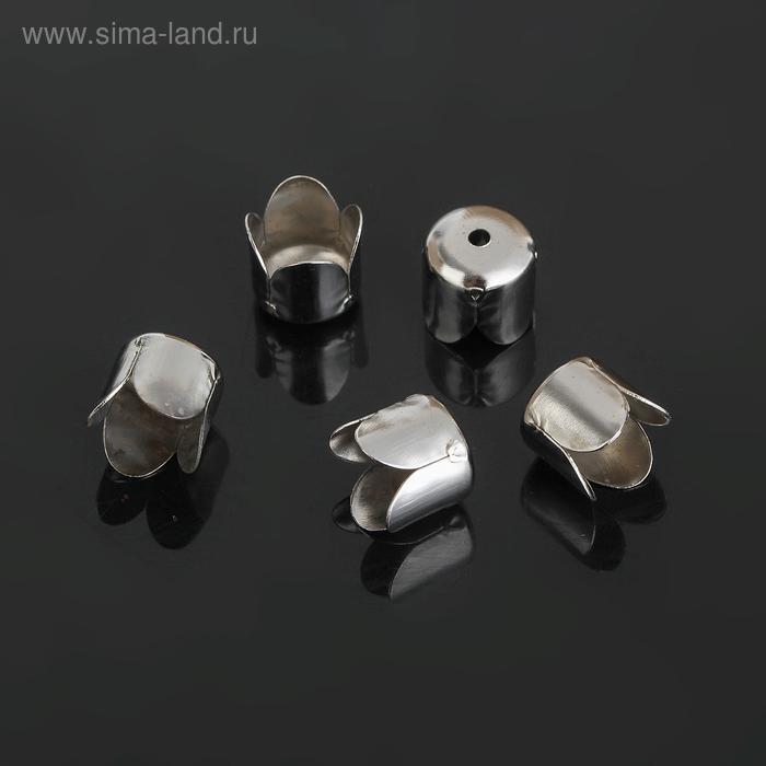 Концевик для шнура, цвет серебро, СМ-305-4, 7 мм, (набор 20шт)