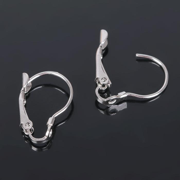 Швензы с французской застёжкой, цвет серебро, 19 мм (набор 5 пар)