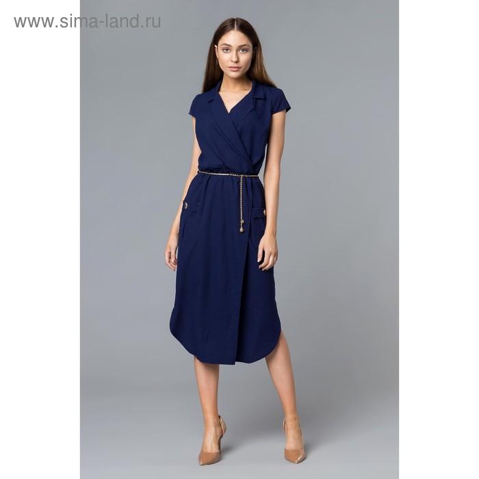 Платье женское, размер 56, рост 168, цвет темно-синий (арт. 17251 С+)