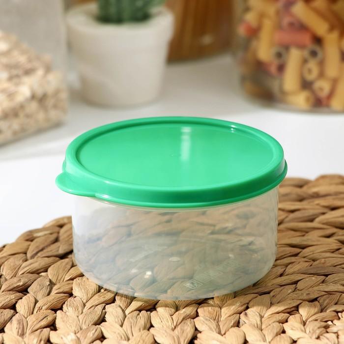 Контейнер круглый, пищевой 300 мл, цвет зелёный