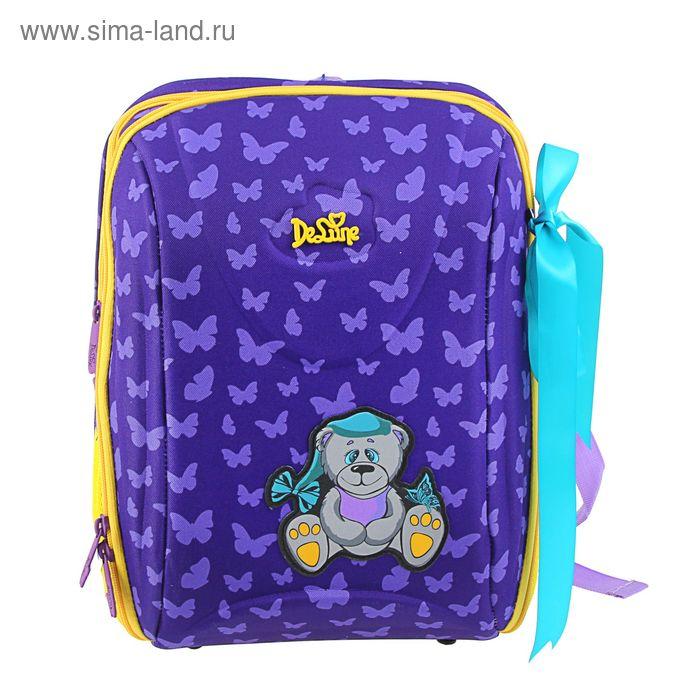 """Рюкзак каркасный De Lune 37*29*20, мешок, эргономичная спинка, для девочки, """"Мишка"""", фиолетовый"""