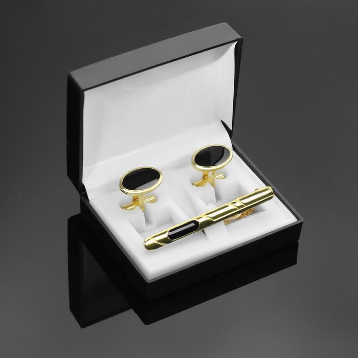 """Набор мужской """"Запонки + Зажим для галстука"""", овал с эмалью, цвет черно-золотой"""