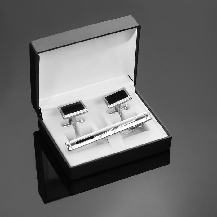 """Набор мужской """"Запонки + Зажим для галстука"""",прямоугольник с вставкой, цвет черно-серебристый"""