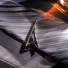 """Зажим для галстука стальной """"Классический"""" округлый с эмалью, цвет чёрный в серебре - фото 7468701"""