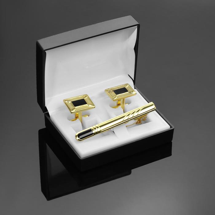 """Набор мужской """"Запонки + Зажим (6 см) для галстука"""" рамка с эмалью, цвет чёрно-золотой"""
