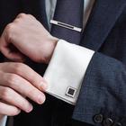 """Набор мужской """"Запонки + зажим для галстука"""" квадрат гладкий , цвет чёрный в серебре"""