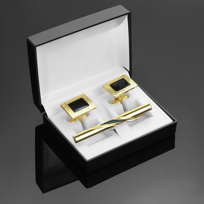 """Набор мужской """"Запонки + Зажим для галстука"""", точечный рисунок, прямоугольник, цвет черно-золотой 14"""