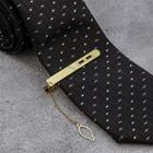 """Зажим для галстука """"Классический"""" овалы с эмалью, цвет чёрный в золоте"""