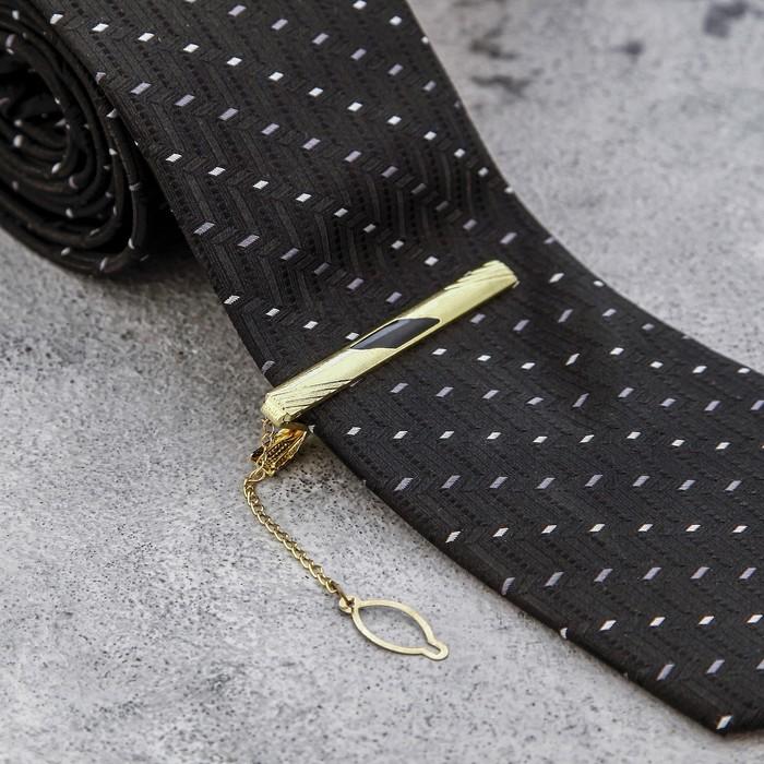 """Зажим для галстука """"Классический"""" полосы с эмалью, цвет чёрный в золоте"""