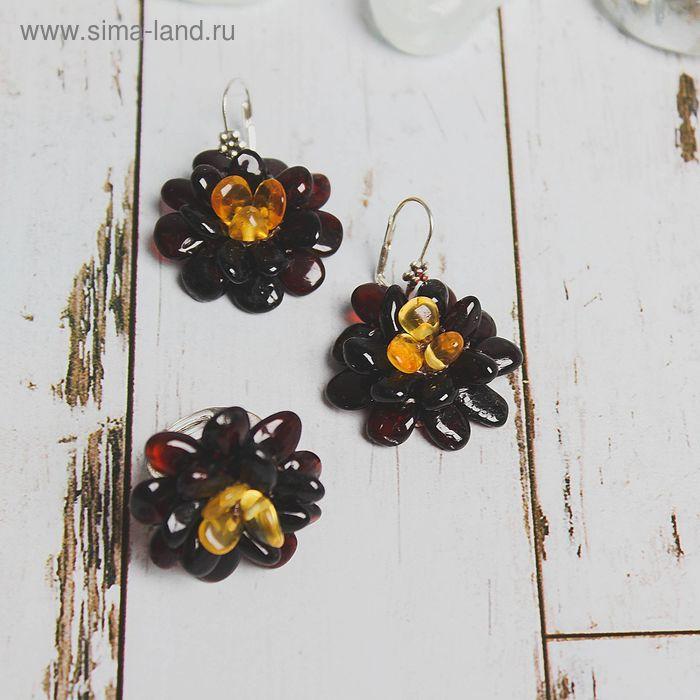 """Набор 2 предмета: серьги, кольцо """"Янтарь"""" цветок, безразмерное"""