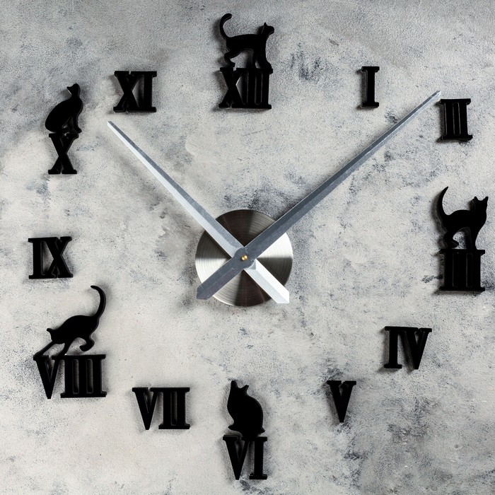 """Часы-наклейка DIY """"Кошечки"""", 120 см"""