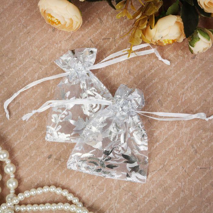 """Мешочек подарочный """"Розы зимние"""" 7*9, цвет белый с серебром"""