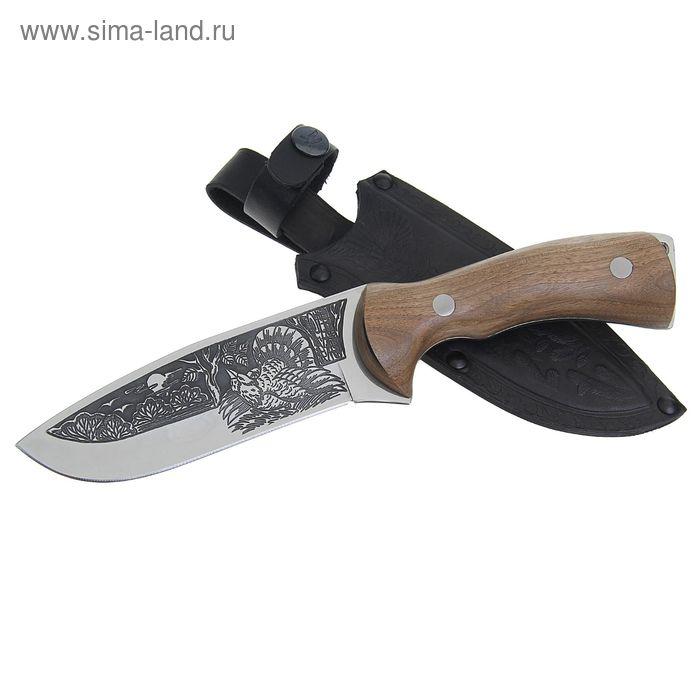 """Нож туристический """"Глухарь"""" - 50431, сталь AUS8, с худ.оформлением,  г. Кизляр"""