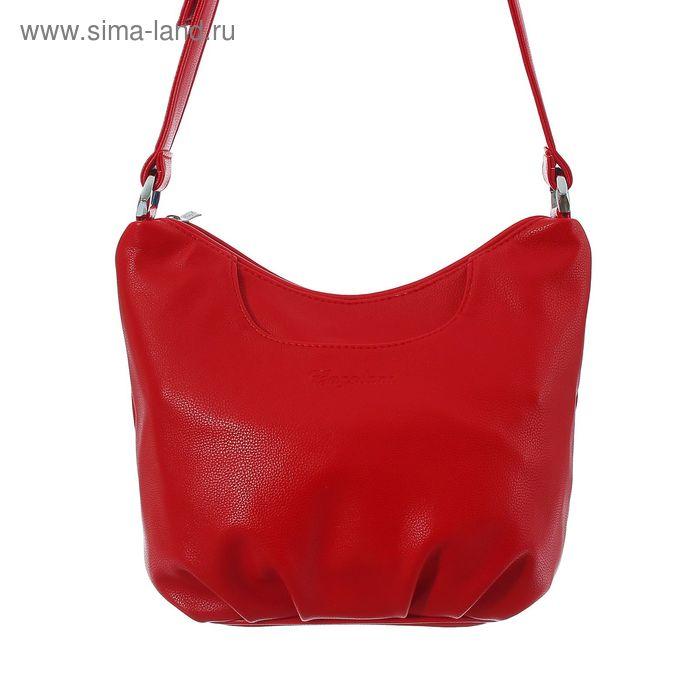 Сумка женская на молнии, 1 отдел с перегородкой, 2 наружных кармана, длинный ремень, красная