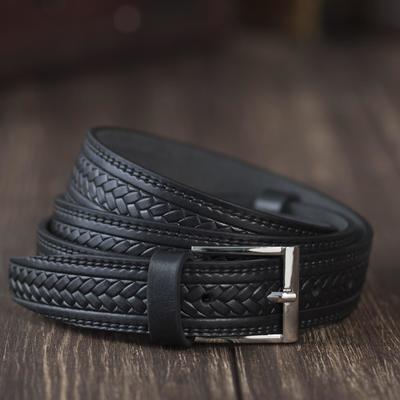 Ремень мужской, винт, пряжка под металл, ширина - 3см, чёрный