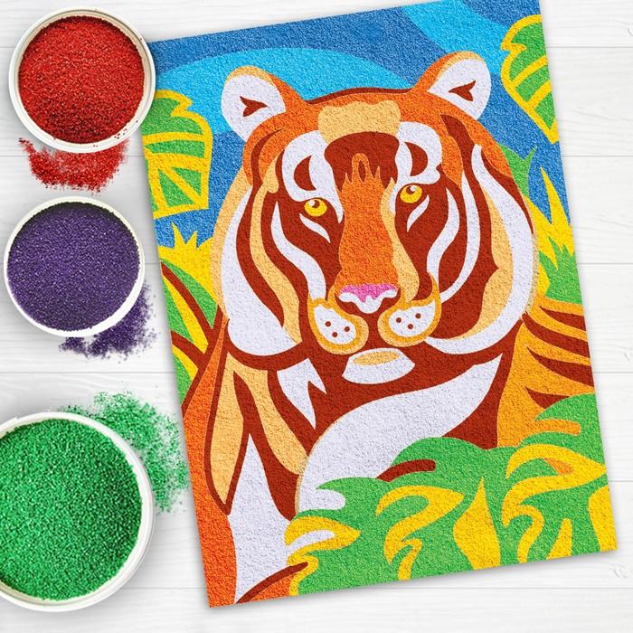 """Фреска песком для взрослых """"Тигр"""", 9 цветов"""