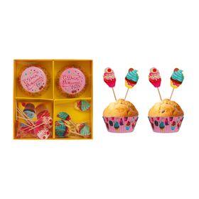 """Украшения для кексов """"С Днём рождения"""", кексики, набор: формочки 24 шт., шпажки 24 шт."""