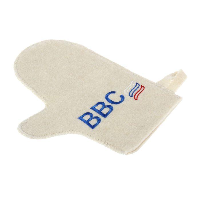Рукавица для бани и сауны с вышивкой «ВВС», белая
