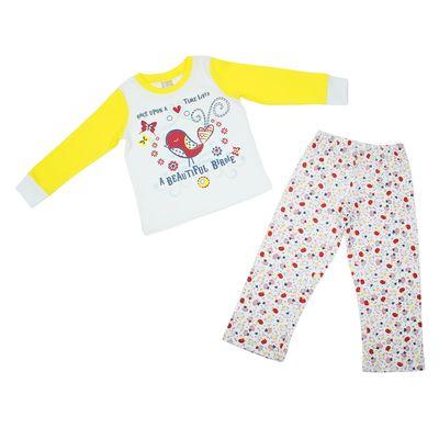 Комплект домашний для девочки (футболка и брюки), рост 104 см (56), цвет белый (арт. 1260241)