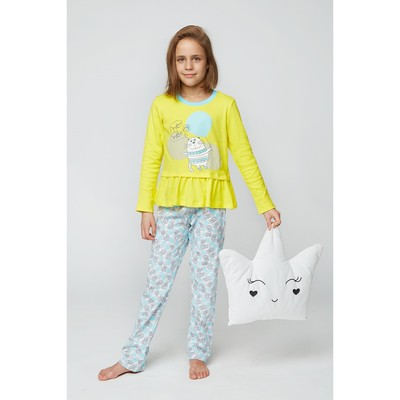 Комплект домашний для девочки (футболка и брюки), рост 122 см (64), цвет жёлтый