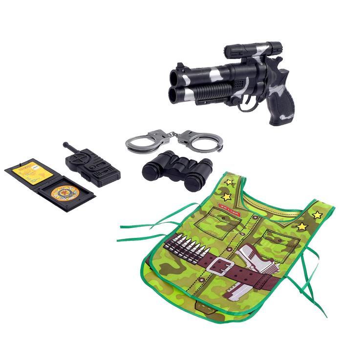 Набор игровой «Настоящий защитник», 5 предметов, БОНУС — книжка-раскраска «Узнаём профессии вместе», фартук