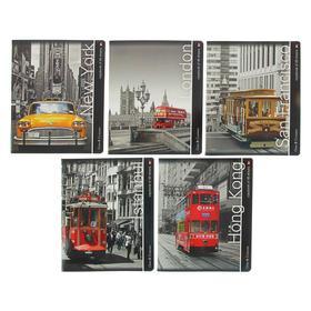 Тетрадь 48 листов в клетку «Города. Контрасты», обложка мелованный картон, УФ-лак, МИКС