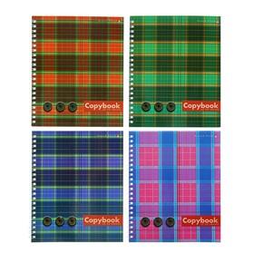 Тетрадь А5+, 80 листов в клетку на гребне «Шотландка», обложка мелованный картон, глянцевая ламинация, МИКС