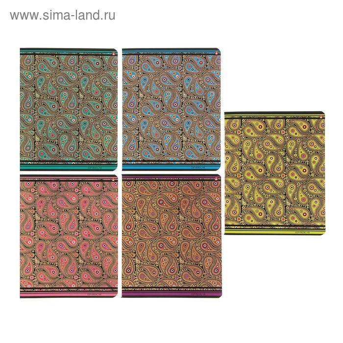 """Тетрадь 48 листов клетка """"Кашемир"""", картонная обложка, 5 видов МИКС"""