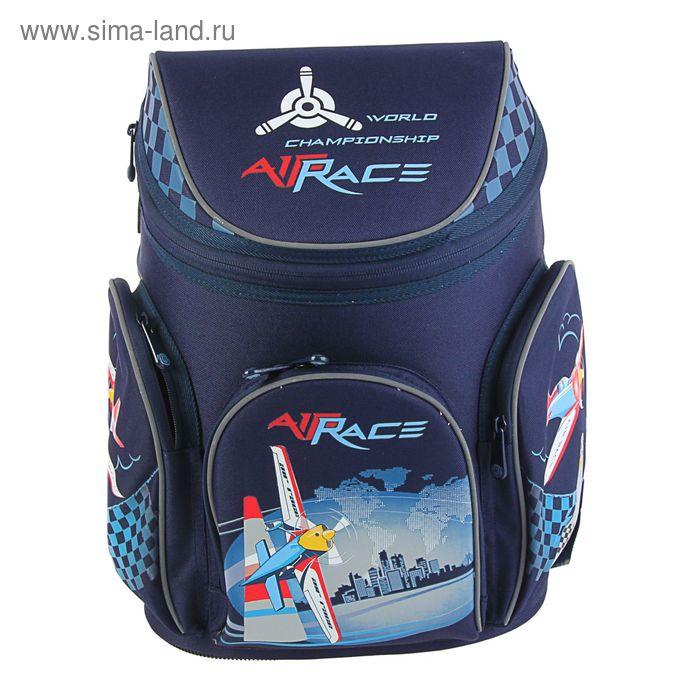 Ранец на молнии Mag Taller Boxi 38*29*19, эргономичная спинка, для мальчика, Air Race, синий