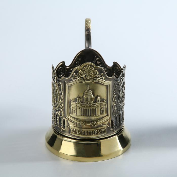 """Подстаканник латунный """"Исаакиевский собор"""", (стакан d=6,1 см)"""