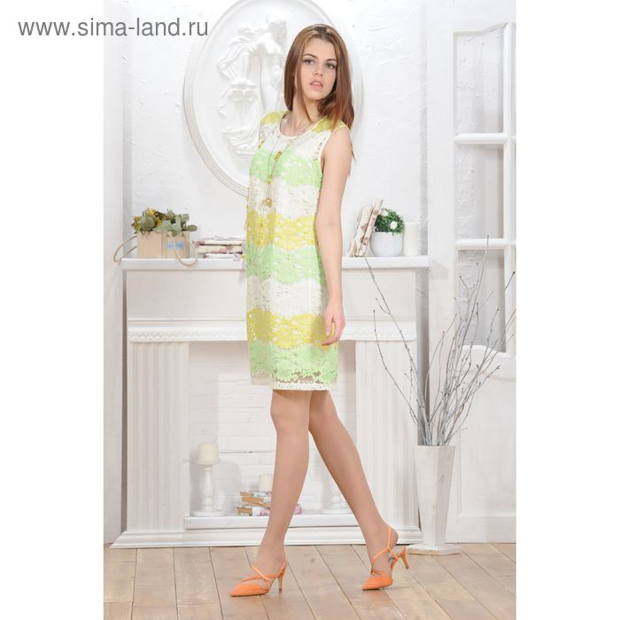 Платье 4802а, размер 42, рост 164 см, цвет зеленый/желтый
