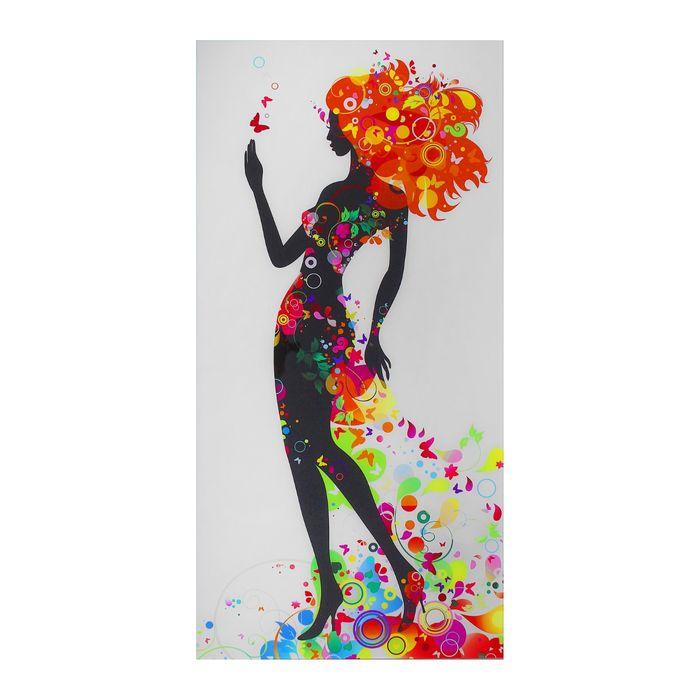"Картина на стекле ""Чёрная леди с бабочками"""