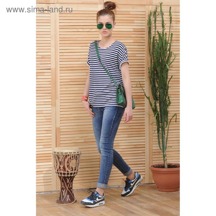 Блуза, размер 50, рост 164 см, цвет тёмно-синий/белый (арт. 4799 С+)