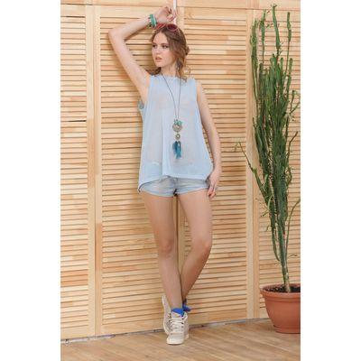 Блуза 4809, размер 48, рост 164 см, цвет голубой
