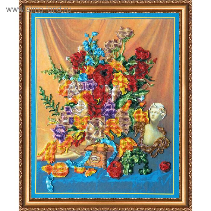 """Набор для вышивки бисером на натуральном художественном холсте """"Тюльпаны"""""""
