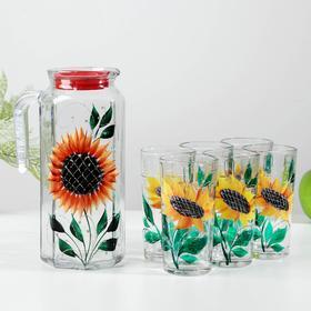Набор GiDGLASS «Подсолнух»: кувшин 1 л, 6 стаканов 200 мл, подарочная упаковка