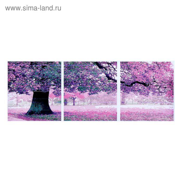 """Роспись по холсту - модульная картина """"Цветущее дерево"""" по номерам с кр.по 3 мл, 50*50 -3 шт"""