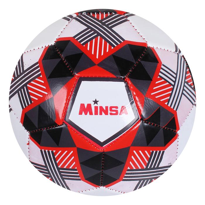 Мяч футбольный Minsa F19, 32 панели, PVC, 2 подслоя, машинная сшивка, размер 5