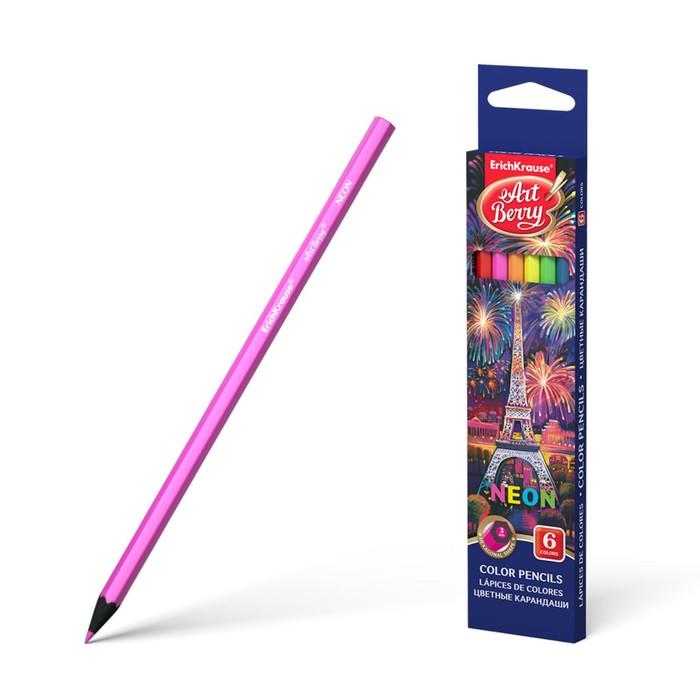 Карандаши 6 цветов Erich Krause Creative Line Neon, неоновые цвета, шестигранные, деревянные, грифель 3 мм, европодвес